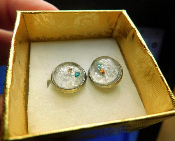 breast milk stud earrings with birth stones