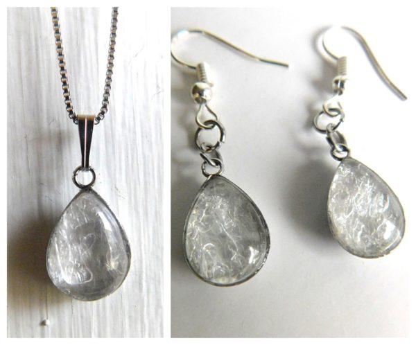 Breast Milk Jewelry SET Classic Milk Drop Necklace Dangling Earrings Silver Stainless Hypoallergenic