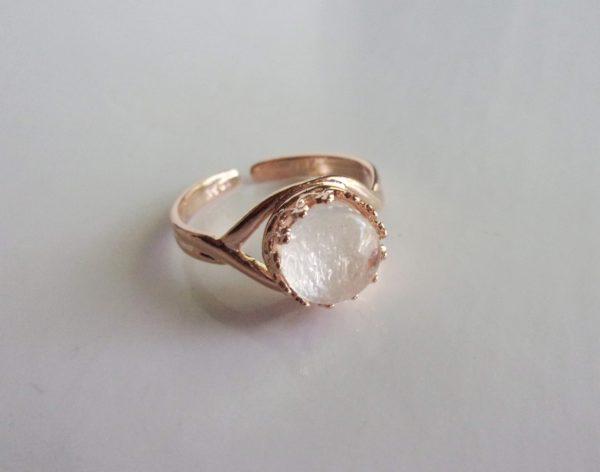 rose gold round crown adjustable ring