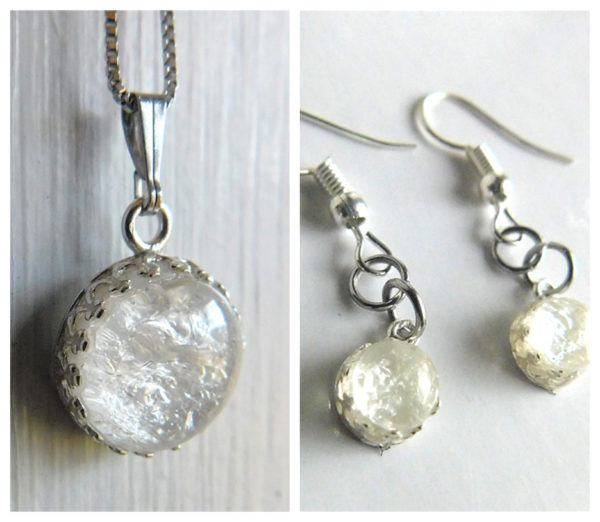 Ice Queen Set_ Sterling Silver Crown Round Necklace & Dangling Earrings