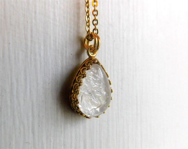 Gold Drop Crown Breast Milk Necklace Pendant