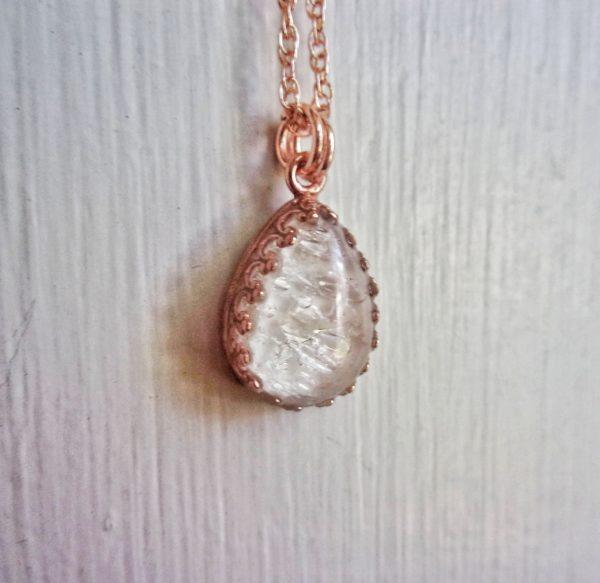 Rose gold drop crown necklace