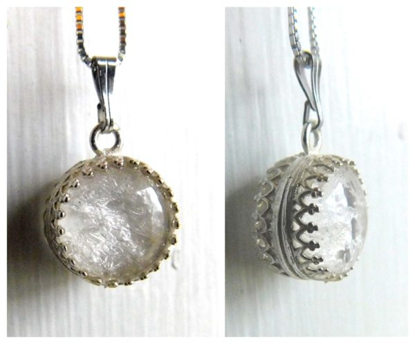 Breast Milk Necklace Sphere Double Sided Pendant Sterling Silver Crown Ice Queen