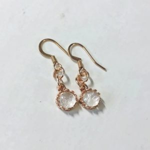 Red Queen Rose Gold Crown Round Dangling Earrings