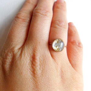 14k Gold Filled Breast Milk Oval Ring with Gold Flakes