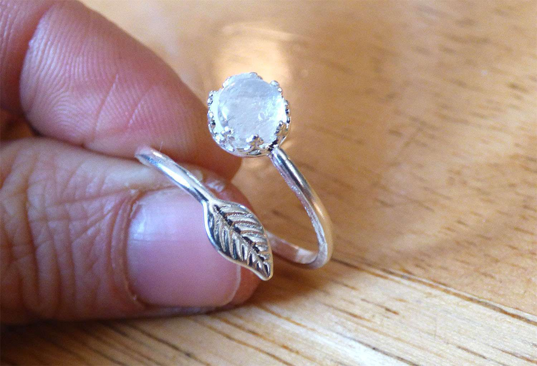 Leaf Sterling Silver Crown Adjustable Breast Milk Jewelry Ring