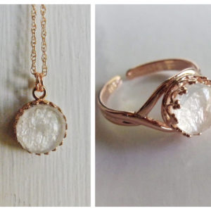 rose gold breast milk jewelry necklace adjustable ring set