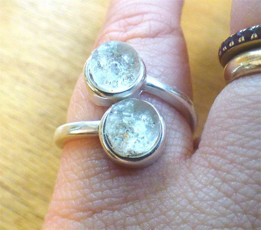 Double Stone Memorial Cremation Sterling Silver Ring Ashes Jewelry