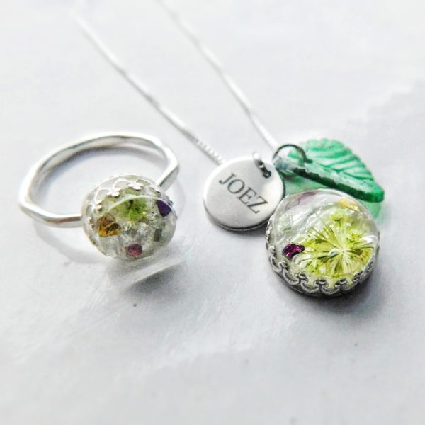 Sterling silver Ice Queen necklace and solid Sterling silver crown ring set