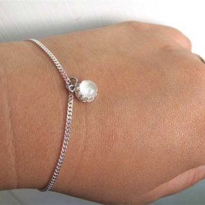 sterling silver crown round breastmilk bracelet charm