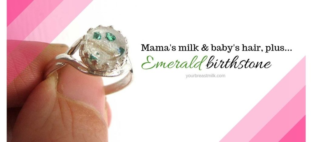 Sterling Silver Breast Milk Ring with baby's hair and emerald birthstone