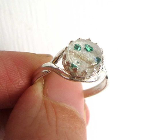 Sterling silver crown adjustable ring with breastmilk, hair, and baby's birth stone (emerald) in green metallic gravel