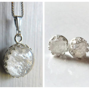 Ice Queen Set_ Sterling Silver Crown Round Necklace & Stud Earrings